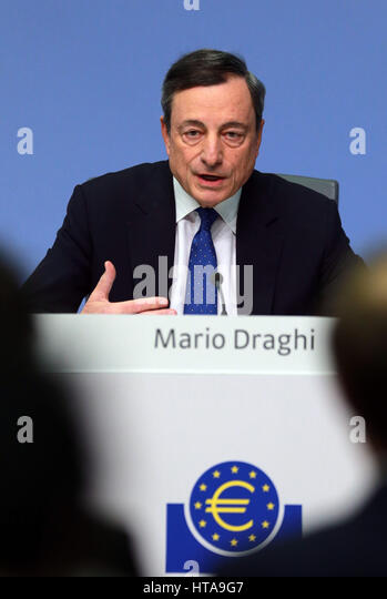 Frankfurt, Germany. 9th Mar, 2017. European Central Bank (ECB) President Mario Draghi attends a press conference - Stock Image
