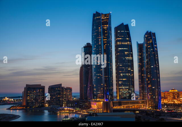 View of Etihad Towers and to the right The Emirates Palace Hotel, Abu Dhabi, United Arab Emirates, Middle East - Stock Image
