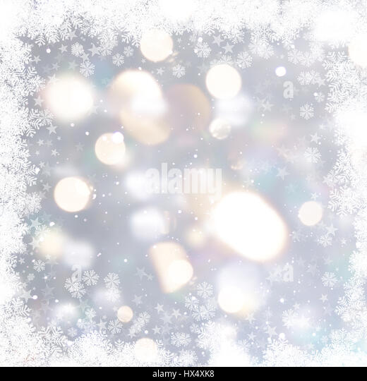Silver Christmas background with snowflakes and stars - Stock Image
