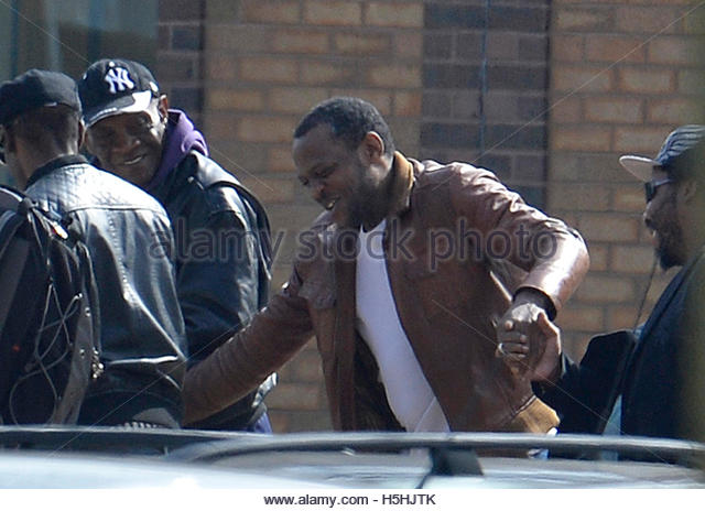 Nicholas Jacobs (C) leaves Belmarsh prison in south east London April 10, 2014. Jacobs was on Wednesday cleared - Stock Image
