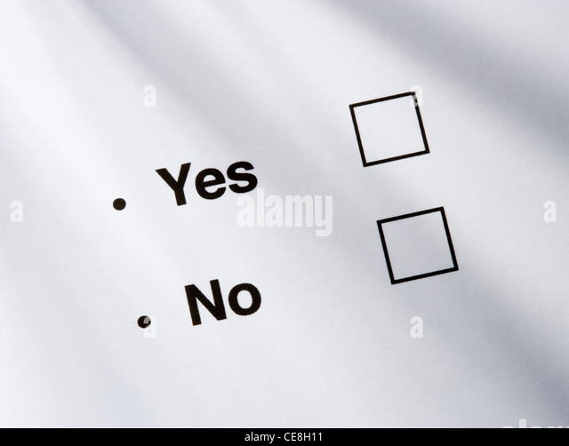 Yes/no option boxes. - Stock Image