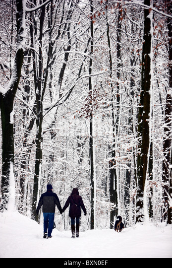 Wintertime, snow covered forest. People on a hike on a snowy path. - Stock Image