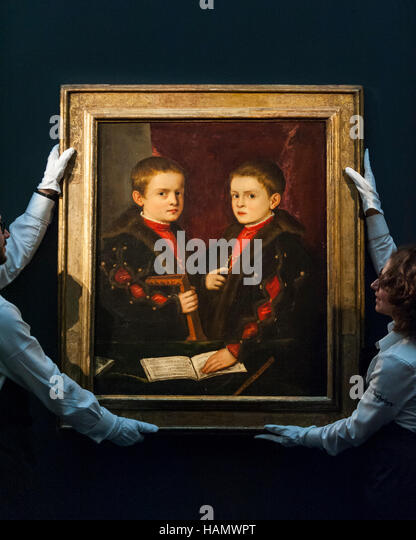 London, UK.  2 December 2016. Technicians show 'Portrait of two boys, said to be Members of the Pesaro Family' - Stock Image