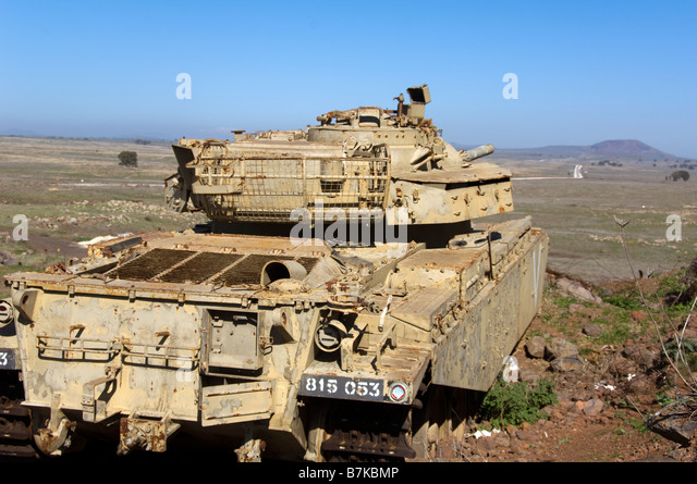Old Israeli Army Tank at Tel A-Saki in the Eastern Golan Heights - Stock Image