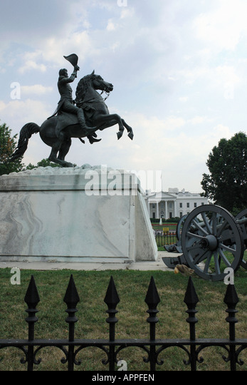 Statue of Soldier on a Horse and The White House Residence of the President of The United States Washington DC USA - Stock Image