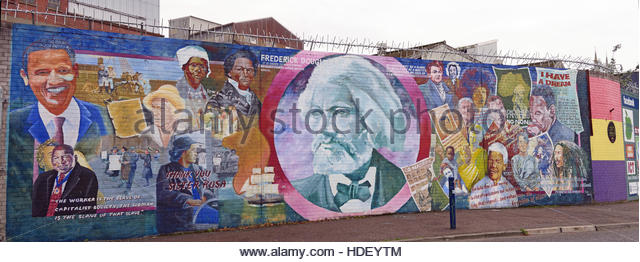 Frederick Douglass mural - International Peace Wall,Cupar Way,West Belfast, Northern Ireland, UK - Stock Image