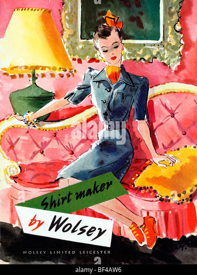 Wolsey Shirtmaker, 1930s advert for the English fashion manufacturer from Leicester - Stock Image