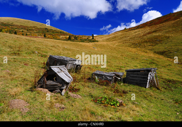 decayed wood sheds on a mountain pasture, Montenegro, Biogradska Gora National Park - Stock Image
