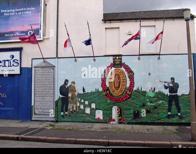 Shankill Road Mural -For God for Ulster, West Belfast, Northern Ireland, UK - Stock Image