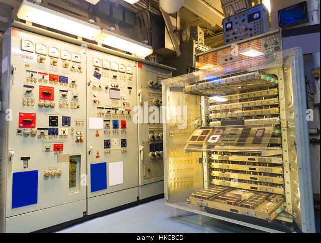 Military ship electricity gauge - Stock Image
