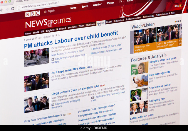 BBC News Politics Home page Website or web page on a laptop screen or computer monitor - Stock Image