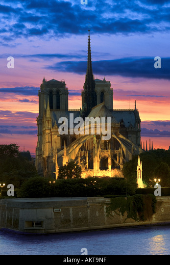 notre dame cathedral at night in paris france - Stock-Bilder
