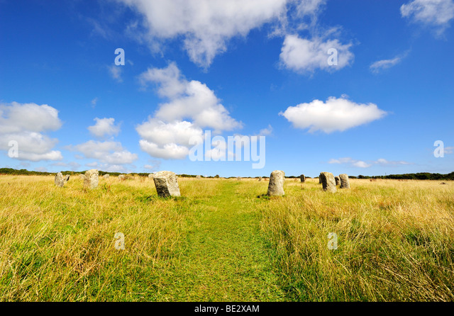 Merry Maidens, stone circle of 19 megaliths from the Bronze Age, in Penzance, Cornwall, England, UK, Europe - Stock Image