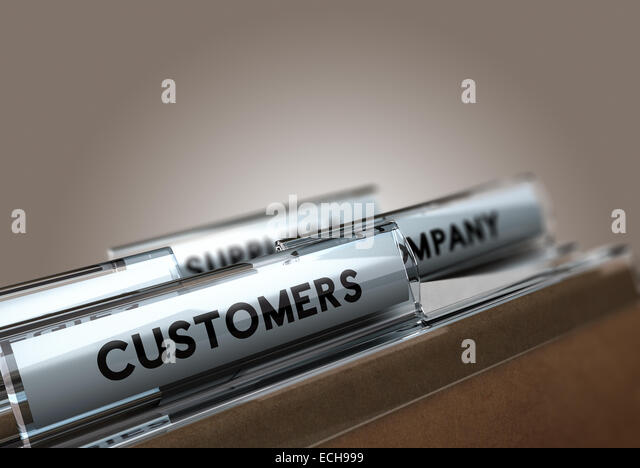 Folder tab with the text customers with focus on the word and blur effect. Concept image for customer management. - Stock Image