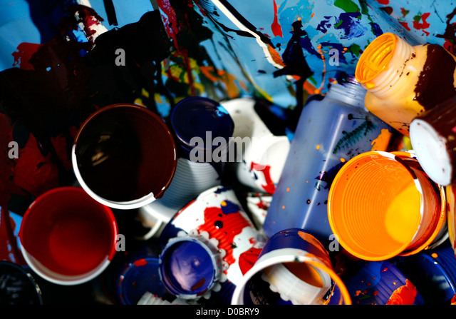 plastic glassess with color paint - Stock Image