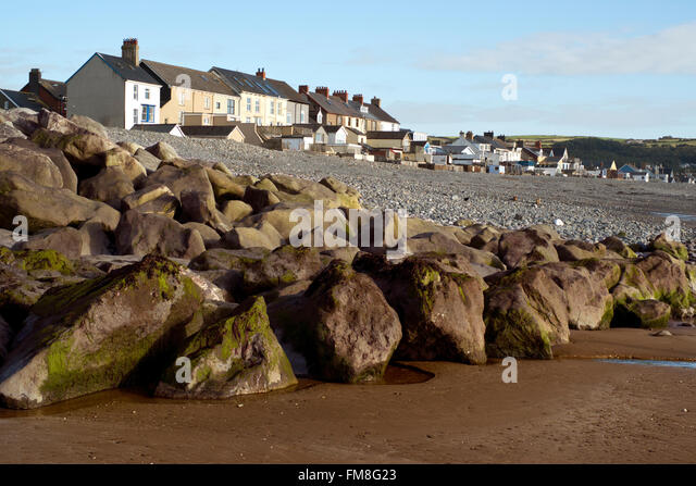 Borth flood defences near Aberystwyth, Wales. Colour, color, horizontal - Stock Image