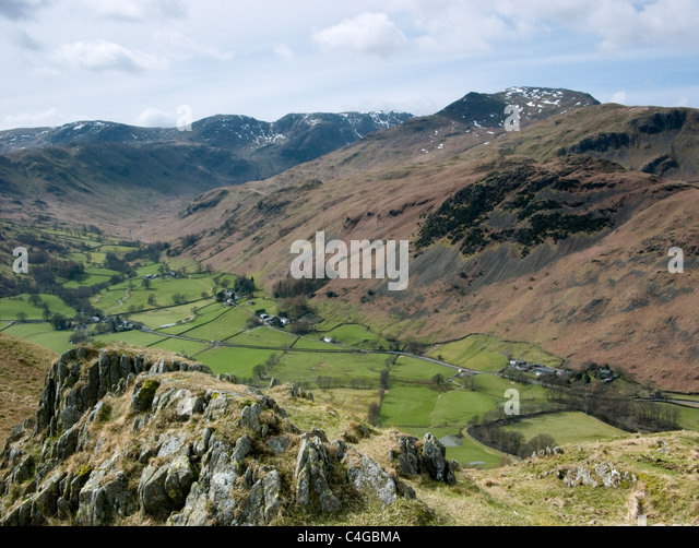 Mountain view from Place Fell in the Lake District - Stock Image