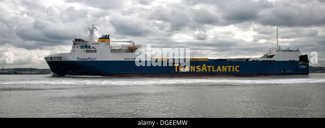 Cargo ship Transpulp a Ro-ro ferry  makes her way downstream of the River Thames near East Tilbury East of London - Stock Image