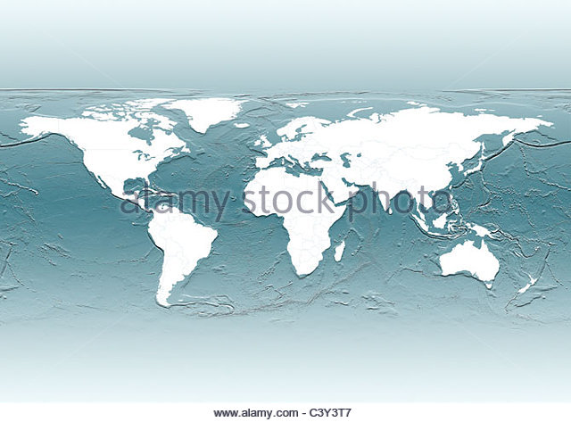 map, world, europe centered, white, political, grey - Stock Image
