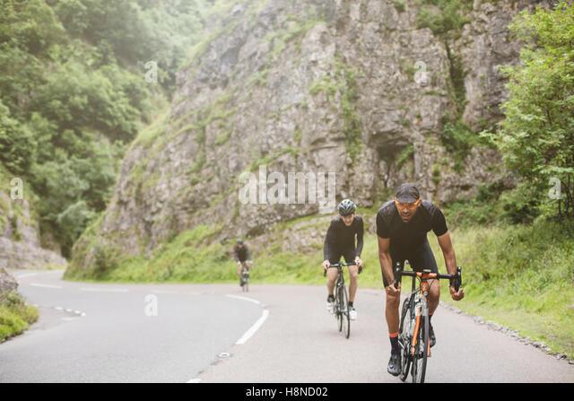 A group of road cyclists take on Cheddar George, U.K - Stock-Bilder