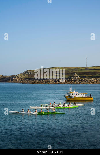 Start of the challenging Celtic Crossing outriggers race from the St Mary's on the Scilly Isles to Sennen, Cornwall, - Stock Image