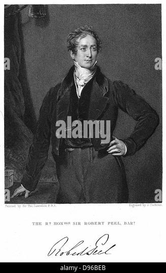 Robert Peel (1788-1850) British statesman. Engraving - Stock-Bilder