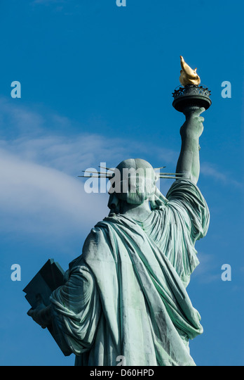 Backside of the Statue of Liberty, Liberty Island, New York City, New York, United States of America, USA - Stock Image