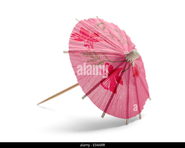 Pink Cocktail Umbrella Isolated On White Background.   Stock Image