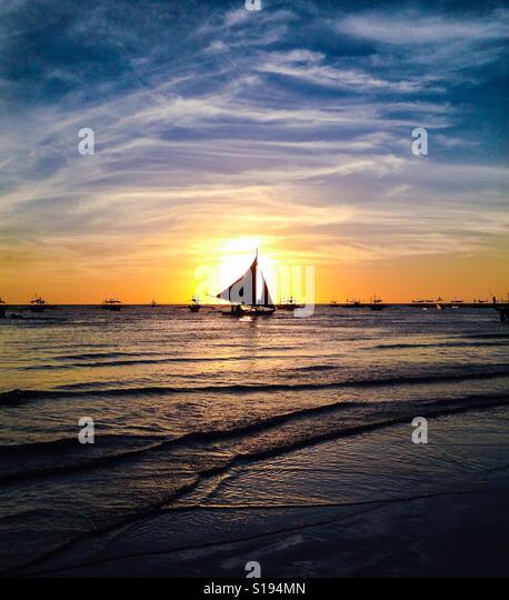 Sunset at Boracay island, Philippines - Stock-Bilder