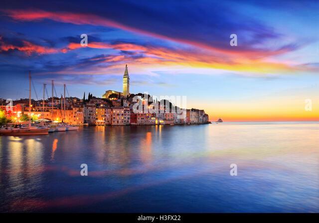 Rovinj small town at sunset in Croatia - Stock Image