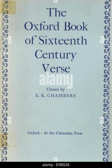 1960s UK The Oxford Book of Sixteenth Century Verse Book Cover - Stock Image