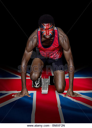 Athlete with british flag face paint - Stock Image