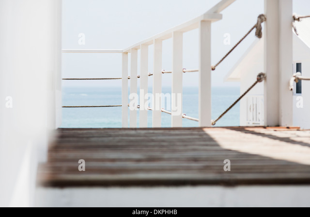 Balcony overlooking beach stock photos balcony for Balcony overlooking ocean
