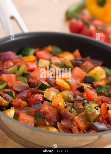Ratatouille in a Saute Pan - Stock Image