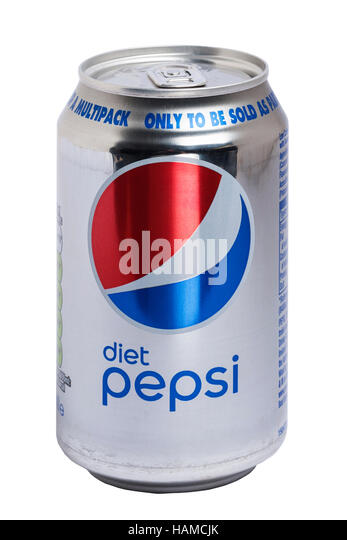 A can of Diet Pepsi cola on a white background - Stock Image
