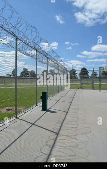 Exercise yard in prison. Diagnostic and Evaluation Center in Lincoln Nebraska. Maximum security. - Stock Image