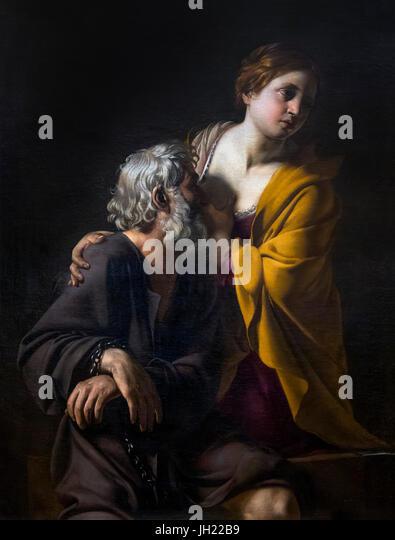 Roman Charity, by Bartolomeo Manfredi, circa 1620, Uffizi Gallery, Florence, Tuscany, Italy, Europe - Stock Image