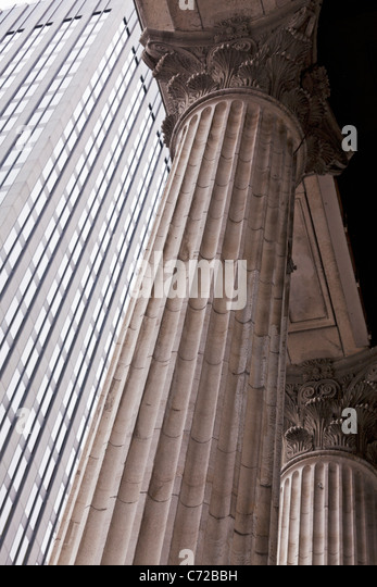 Canada,Quebec,Montreal, Montreal, columns of the Bank of Montreal Building - Stock Image