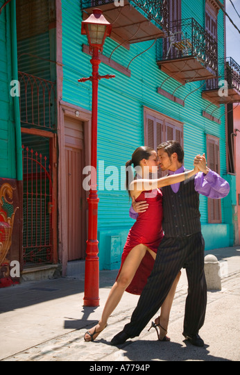 Tango dancers in La Boca, Buenos Aires. - Stock Image