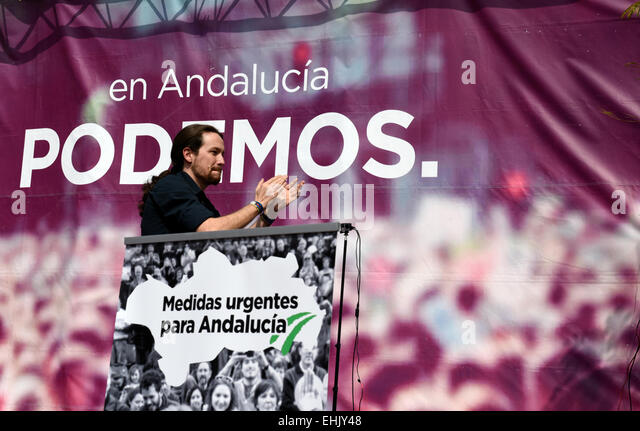 Political rally in the run up to the regional elections for the Andalucian Parliment in the Plaza de La Merced, - Stock Image