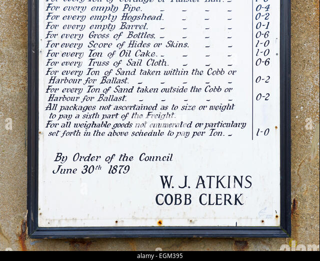 List of goods to be carried - and prices - on Cobb, Lyme Regis, Dorset, England UK - Stock Image