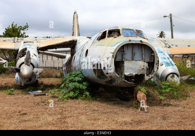 Wreckage of a Russian Antonov AN26 aircraft at Pearls Airfield, Grenville, Grenada, West Indies - Stock Image