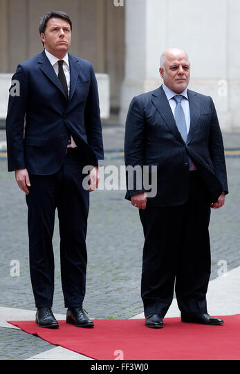 Rome, Italy. 10th February, 2016. Matteo Renzi e Haider Al-Abadi Roma 10-02-2016 Palazzo Chigi. Incontro Italia - Stock Image