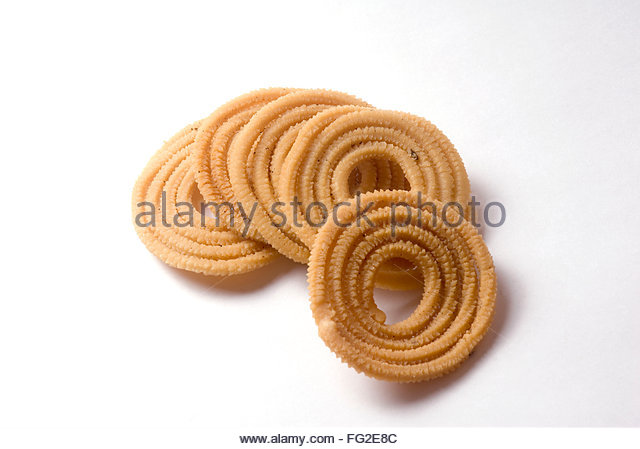 Chakali a spicy item eatable during Diwali deepawali festival , India - Stock Image