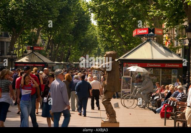 Spain Barcelona Las Ramblas tourists kiosk - Stock Image