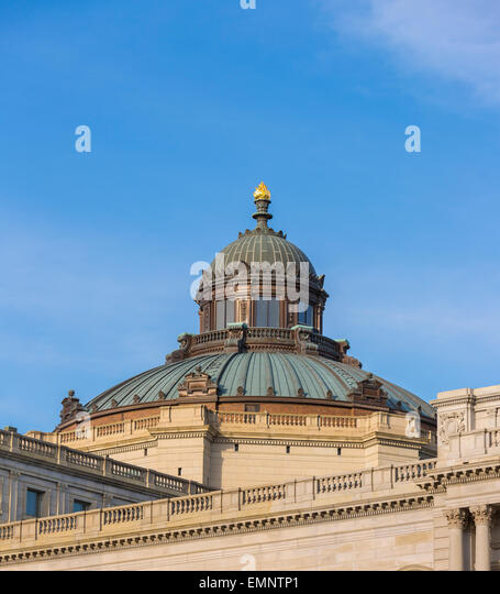 WASHINGTON, DC, USA - Copper dome on top of the U.S. Library of Congress, Thomas Jefferson Building. - Stock-Bilder