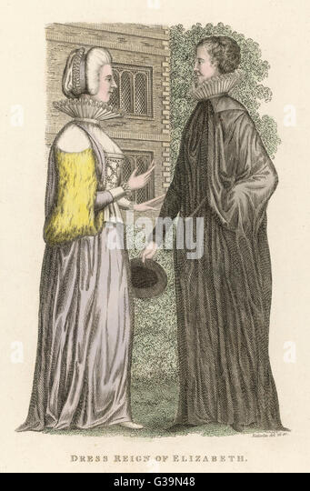 Two Englishwomen of the  Elizabethan period         Date: circa 1590 - Stock Image