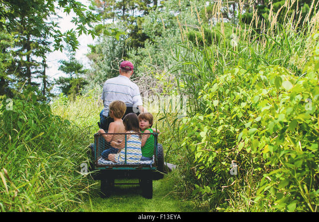 Man driving buggy with three children in the back - Stock Image