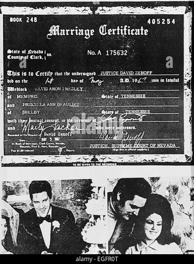 LAS VEGAS, NV - NOVEMBER 10 – Elvis and Priscilla Presley Marriage Certificate at the Aladdin Hotel, Las Vegas, - Stock Image