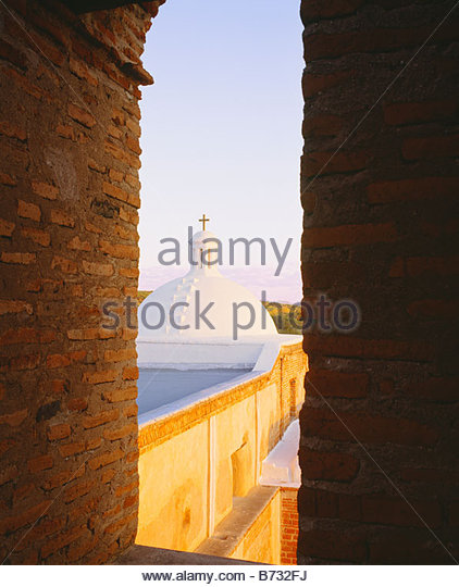 View from bell tower of church at San Jose de Tumacacori Spanish Franciscan mission church Tumacacori National Monument - Stock Image
